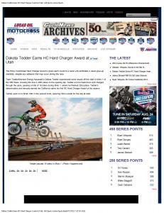 Dakota Tedder Earns HC Hard Charger Award at Utah